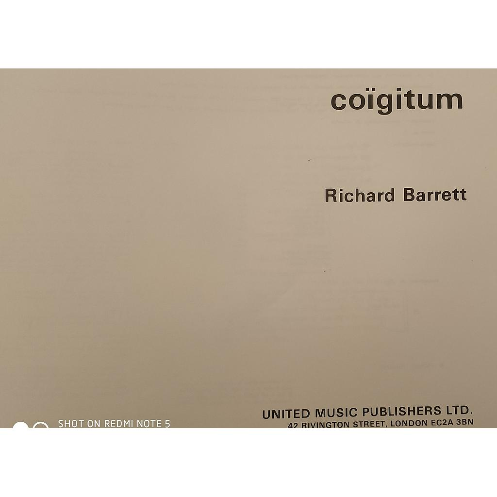 Coigitum 1st Work In The Series after Roberto Matta Barrett Richard Soprano et piano United Music Publishers Ltd UM10309